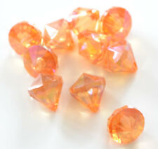 10 x Large Orange Acrylic 18mm Faceted Bicone Iridescent Beads Jewellery Craft