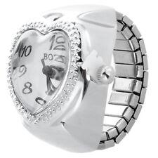Silver Tone Quartz Heart Pocket Finger Ring Watch R1S7
