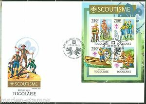 TOGO 2013 BOY SCOUTS  SHEET OF FOUR  FIRST DAY COVER