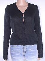 sisley maglione maglioncino donna nero lana angora s / m small medium