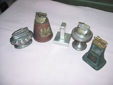 Lot of 5 Old Vintage Table Lighter Ronson Crown Sterling Leather England Liftarm