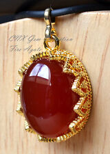 Natural Gemstone Crystal Fire Agate Gold Plated Hollow Vintage Pattern Pendant