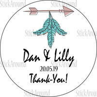 Personalised Boho Chic Baby Shower Wedding Stickers Favour Thank You Stickers