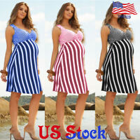 Women Casual Maternity Stripe Halter Strap Dress Pregnant Sleeveless Summer US