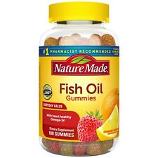 Nature Made Fish Oil Omega-3 Gummies, 100 Ct W/ 57 mg of Heart Healthy Omega-3s