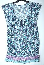 LADIES CASUAL TOP WHITE NAVY BLUE GREEN SIZE 6 NEW LOOK STRETCHY FLORAL