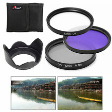 52mm UV CPL FLD Filter Kit + Lens Hood for Nikon D5200 D5100 D3200 D3100 LF135