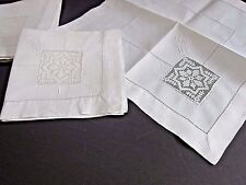 Antique Italian Net Darned Insertion Lace~Snowflake White Linen Napkins (6)