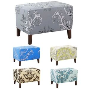 Ottoman Cover Footstool Slipcover Stretch Storage Seat Protector Home Decor