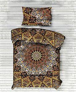 Indien Étoile Mandala Imprimé Jaune Lit Drap Double Couvre-Lit Bohème Lit Set