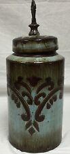 Ceramic Jar Blue And Brown Deco 79