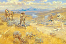 Buffalo Bill Duel With Yellowhand by Charles Russell  Western Native American