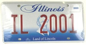 Vintage Illinois 2001 Sample Old License Plate Collector Man Cave Pub Gift