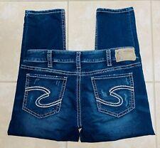Silver Jeans Women's Suki Mid Capri Joga Stretch Blue Jeans size 34