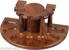 Pfeifenständer halbrund mit Tabaktopf - Sheesham-Holz poliert / Braun - 7er