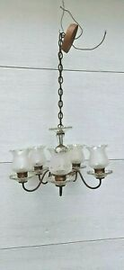 antique Victorian 5 arm chandelier  light pendant ceiling fixture brass/ glass