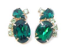 "D&E Juliana Emerald Green Aurora Rhinestone Bold Gold-T 1 1/8"" Long Vtg Earrings"