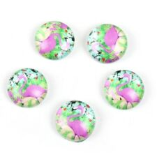 10 x Pink Green Flamingo Cabochons Glass Dome Seals