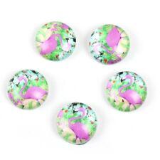 10 x Rose Vert Flamingo Cabochons Capuchons dôme en verre