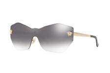 Nuevo con etiquetas Versace VE2182 12526I dorado pálido Lente Gris Espejo de Plata Mujer Gafas de sol 43