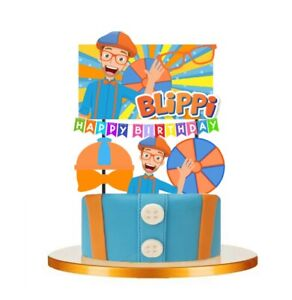 BLIPPI  Themed Cupcake Birthday Cake Topper Party Supplies Decoration UK