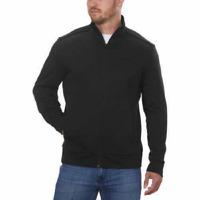 Calvin Klein Men's Full Zip Long Sleeve Heathered Black Jacket, Size Large