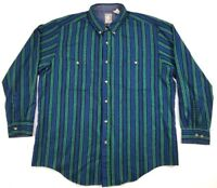 VTG Outdoor Exchange Flannel Button Front Striped Long Sleeve Shirt Mens Size XL