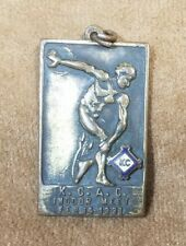 KCAC Kansas Collegiate Athletic Conference 1931 Indoor Meet Brass Pendant Medal