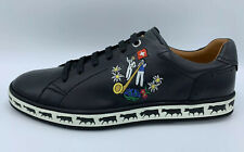 $600 Bally Animals Black Leather Sneakers size US 10 Made in Switzerland