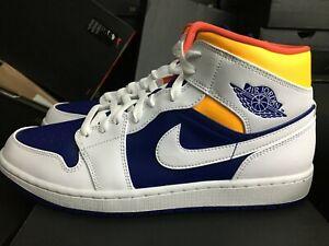 NEW NIKE Air Jordan 1 Mid 11 Laser Orange White Deep Royal Blue Low 554724 131