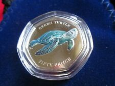2019 Indian Ocean Green Turtle 50p Coin Coloured BUNC Sealed NEW