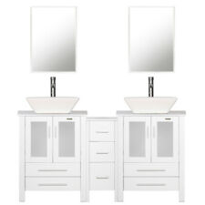 White Bathroom Vanity 60 inch Set W/ White Ceramic Sink Faucet Small Side table