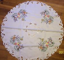 """EMBROIDERED TABLECLOTH/TABLE SCARF   36"""" IN DIAMETER"""
