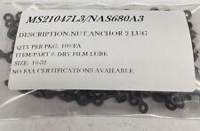 MS21047L3 NAS680A3 NUT 2 LUG STEEL DRY FILM SIZE 10-32 100/EA PACKAGE