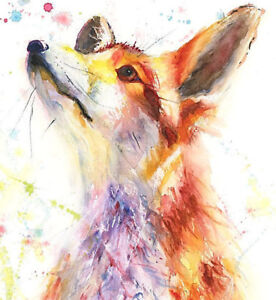 Limited Edition Print of FOX original watercolour by HELEN APRIL ROSE   491