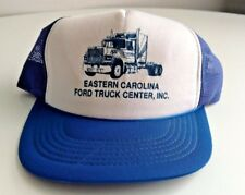 Vintage Eastern Carolina Ford Truck Center Trucker Hat Cap Blue Snap Back Used