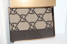 Brand New GUCCI Luxury Brown Throw Blanket Cashmere/Wool Made in Italy