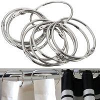 12x Set Stainless Steel Shower Curtain Rings Hooks Bathroom Rod Anti Rust Magic