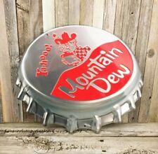 "Mountain Dew Soda Pop Embossed Bottle Cap 18"" Metal Tin Sign Vintage Decor New"