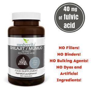 MUMIO 40mg Fulvic Acid- NO FILLERS- PHARMA GRADE-  60 capsules