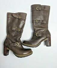 Dr Martens BELLISSA Women's Brown Zipper 3 Buckles Knee High Boots US7 UK5 EU38