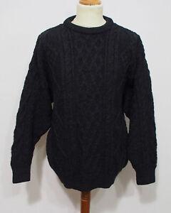 Zopf Strick Pullover von Aran Crafts Grösse M Herren Schurwolle O017