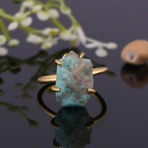 Raw Turquoise 925 Sterling Silver Adjustable Ring 18k Gold Plated Ring