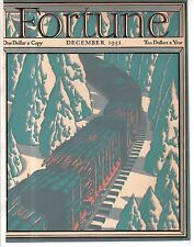1931 Fortune December cover only - Logging Train in the Sierras
