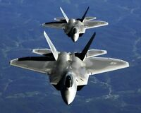 New 8x10 Military Photo: Two F-22A Raptor FIghter Jet Aircraft in Column Flight