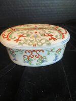 VTG Chinese Porcelain TRINKET BOX, Oval, Lidded, Floral/Vine/Scroll Design