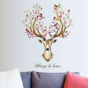 Flowers & Birds Deer Vinyl Art Stickers Wall Decals Home Decor, always be Brave.