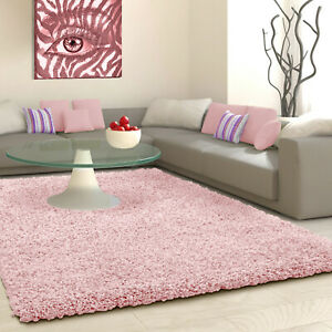 5cm HIGH PILE SMALL EXTRA LARGE PREMIUM QUALITY THICK SHAGGY RUG BLUSH ROSE PINK