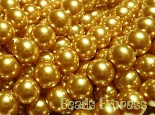 50 Glass Pearl Round Beads - Topaz Gold 8mm (CR8009)