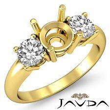 Round Semi Mount Diamond Classic 3 Stone Engagement Ring 18k Yellow Gold 0.5Ct